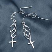 耳環 925純銀-螺旋十字架生日聖誕節交換禮物女飾品73dq62【時尚巴黎】
