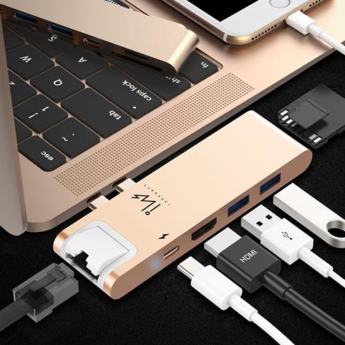 innowatt DOCK NET for Mac Pro HDMI & RJ45 七合一多功能充電傳輸集線器 iW71N 金色