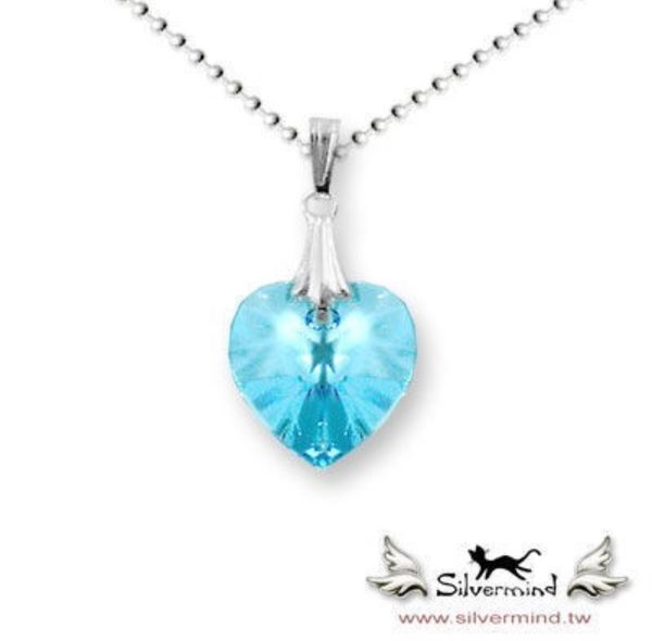 銀色思維 / 施華洛世奇水藍色水晶項鍊