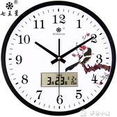掛鐘客廳現代簡約靜音日歷電子石英鐘錶圓形家用裝飾時鐘掛錶igo「多色小屋」