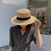 拉菲草帽女防曬遮陽帽子沙灘網紅平頂夏季韓版百搭日系編織漁夫帽 618促銷