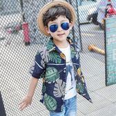 男童棉麻短袖襯衫 夏款中大童薄款開衫 兒童沙灘度假花襯衫 全館免運