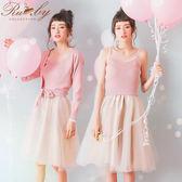 套裝 細肩帶紗裙針織長袖套裝 外套+洋裝-Ruby s 露比午茶