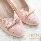 現貨 MIT尖頭鞋中跟大中小尺碼 雅緻女神 蕾絲水鑽真皮鞋墊跟鞋 20.5-25.5 EPRIS艾佩絲-甜美粉