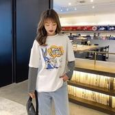 長袖T恤女2020新款早春季拼接韓版寬鬆 cec潮條紋假兩件上衣打底衫 Cocoa