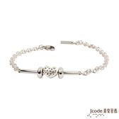 J'code真愛密碼-愛滿了 純銀+白鋼手鍊