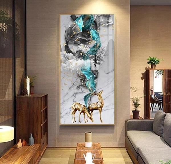 現代簡約玄關裝飾畫豎款抽象掛畫客廳走廊過道壁畫玄幻入戶晶瓷畫MBS「時尚彩紅屋」