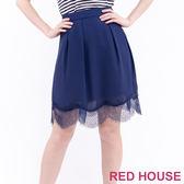 RED HOUSE-蕾赫斯-飄逸拼接蕾絲裙(深藍色)