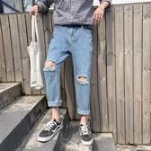 男士九分破洞直筒牛仔褲男潮牌淺色寬鬆百搭墜感闊腿褲潮流乞丐褲 美芭