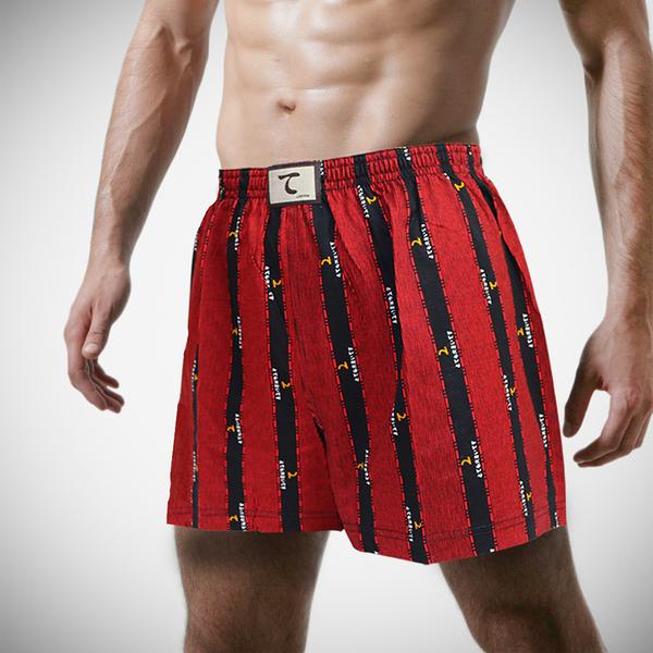 【天皇】舒適悠閒-日系條紋平口褲-紅色