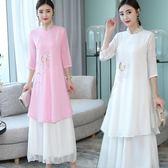 夏裝中式復古手繪真絲皺旗袍中袖洋裝連衣裙改良漢服茶服禪衣