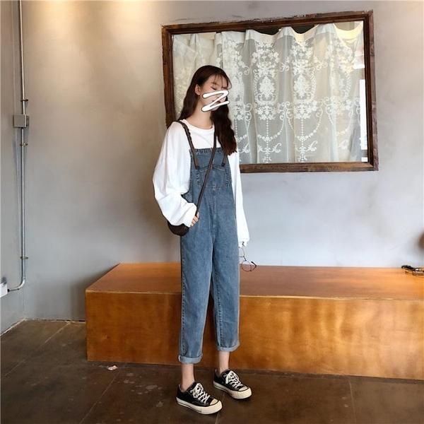 網紅褲子2019新款潮韓版秋季高腰寬鬆直筒褲百搭顯瘦牛仔背帶褲女