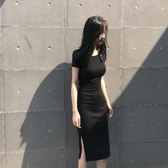 包臀洋裝 側開叉露背連身裙女夏中長款修身顯瘦氣質性感 芊墨左岸