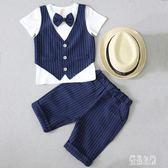 男童短袖小西裝套裝夏季3兒童英倫禮服6歲潮小男孩帥氣表演出服7 LJ4300【優品良鋪】