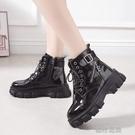 短靴高跟鞋帥氣馬丁靴女英倫風百搭機車靴子厚底坡跟短靴女單靴【 【全館免運】】