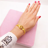 2019新款沙金手鏈 仿真假黃金首飾手表毆幣飾品 鍍金鐲子女不掉色 小明同學
