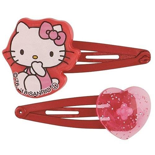 【震撼精品百貨】Hello Kitty 凱蒂貓~SKATER HELLO KITTY與愛心造型髮夾組(一組兩支入)#42210