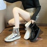 雪靴 雪地靴女2019新款時尚羊皮毛一體厚底百搭防水防滑亮片鏡面短筒潮35-40碼 3色