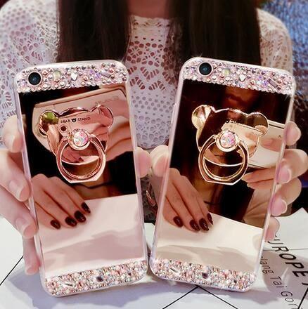 【SZ64】oppoa59s手機殼女款潮A59小熊指環+奢華水鑽韓國軟膠全包邊個性創意59M鏡面