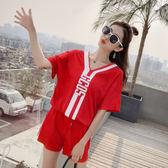 $388出清 韓國學院風短袖字母領t恤學生休閒寬鬆時尚運動服套裝短袖褲裝