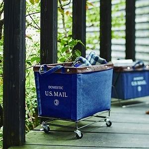 【收納職人】U.S.MAIL美式仿舊個性置物籃收納推車-牛仔藍