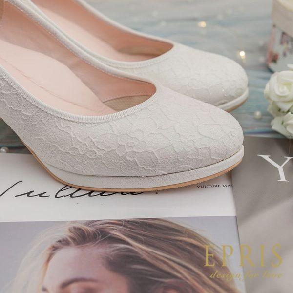 現貨 新娘婚鞋推薦 玫瑰星星 閃亮亮真皮腳墊高跟鞋MIT小中大尺碼21-26EPRIS艾佩絲-冰晶銀