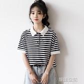 2020夏季新款翻領可愛少女polo衫條紋短袖T恤女寬松學生保羅上衣
