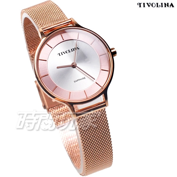 TIVOLINA 永恆之美 氣質女錶 防水錶 藍寶石水晶鏡面 玫瑰金色x粉紅 米蘭帶 LAG3755WP