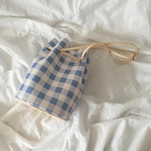水桶包 新款時尚甜美格子抽繩ins清新格紋單肩女包 - 雙十二交換禮物