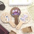 【Disney 】時尚質感原木/木頭手拿鏡-冰雪奇緣