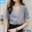 【V2914】shiny藍格子-小清新.格紋V領短袖襯衫上衣