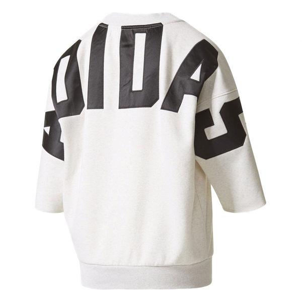 ISNEAKERS adidas Originals 艾迪達 基本款 小Logo 落肩 五分袖 大字母 T恤 白 BR5180  秋冬
