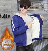 男士外套 秋冬加絨加厚夾克 男款青少年韓版衣服 休閑修身學生保暖外套衣服 時尚男士外套