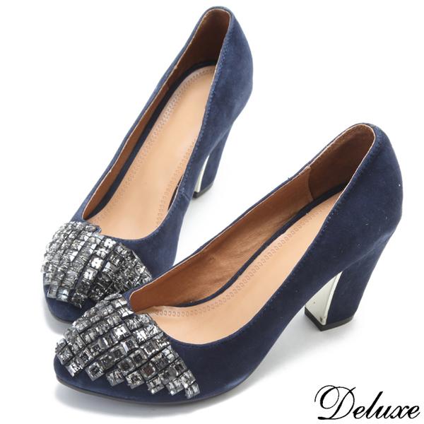 Deluxe-典雅名媛方鑽微尖頭粗跟鞋-藍