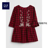 Gap女嬰幼童 刺繡圖案格紋長袖洋裝 356692-紅色格子花呢