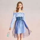 小清新套裝 一字領連身裙 高腰半身裙兩件套