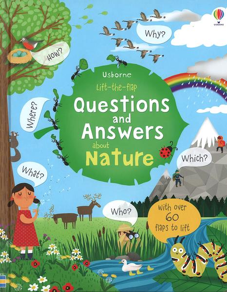 【麥克書店】QUESTIONS AND ANSWERS ABOUT NATURE/ 英文繪本硬頁書《翻翻書》