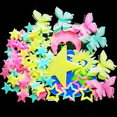牆上裝飾品蝴蝶月亮熒光貼字發光星星貼夜光貼紙3d立體流星雪花貼 樂活生活館