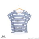 【INI】透氣涼感、條紋配色休閒品味假兩件上衣.黑色