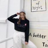 7208#秋裝寬鬆卡通字母印花長袖體恤潮 港仔會社
