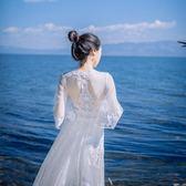 白色蕾絲露背喇叭袖仙女寫真裙