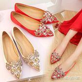 婚鞋女新款紅色 敬酒 韓版水鑽平底新娘鞋尖頭淺口平跟孕婦鞋 晴天時尚館