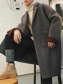 長版大衣 迷你流行大衣男冬季正韓落肩中長版外套寬鬆毛呢加厚風衣迷你學院