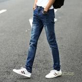 修身直筒男士牛仔褲新款小腳褲子男韓版潮流彈力夏季休閒牛仔褲男「時尚彩紅屋」