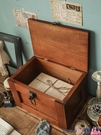 熱賣復古置物架 桌面收納盒帶鎖復古木質長方形帶蓋證件儲物盒化妝品箱雜物零錢柜【618 狂歡】