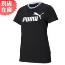 【現貨】PUMA Amplified 女裝 短袖 純棉 休閒 領口串標 印花 黑 歐規【運動世界】58590201