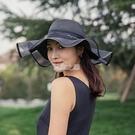 沙灘帽 草帽女洋氣防曬帽遮陽帽大帽檐新款帽子女時尚戶外百搭可折疊