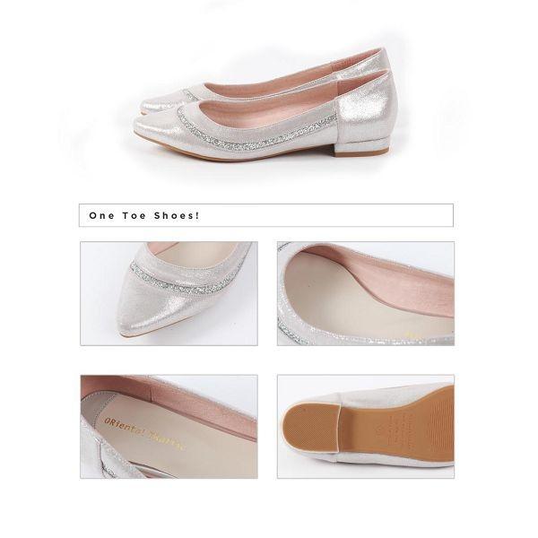 【ORiental TRaffic】金蔥異材拼接造型平底鞋 -時髦銀