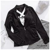 Catworld 肩拼網紗立領運動外套【15003709】‧S-XL