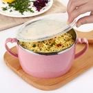 泡麵碗帶手柄多用帶蓋密封304不銹鋼泡面碗家用大號時尚保鮮碗湯碗【特價】